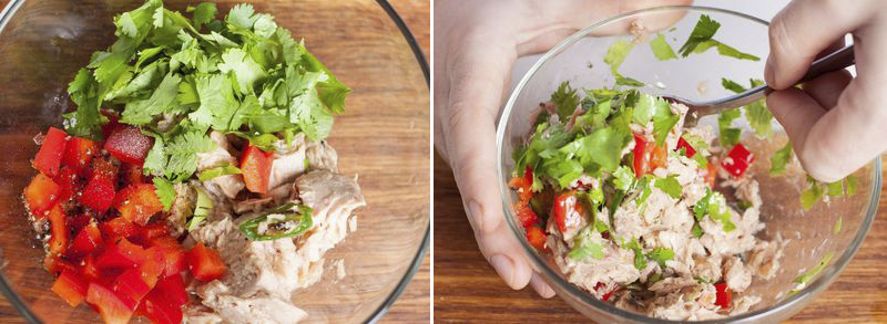 Салат з тунцем у човниках з авокадо