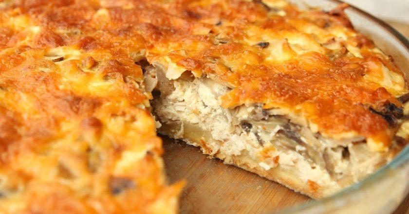 Пісочний пиріг з куркою і грибами подивитися рецепт