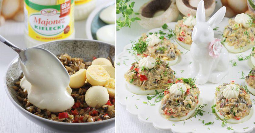 Фаршировані яйця з грибами подивитися рецепт