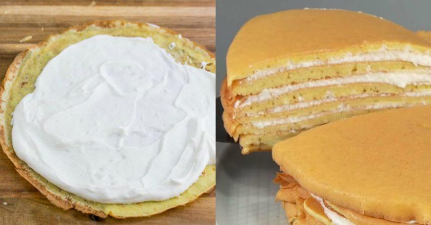 Бісквітний торт на сковороді подивитися рецепт