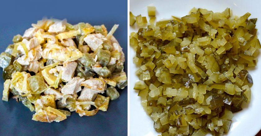 Салат з омлетом і огірками подивитися рецепт
