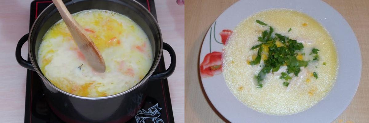 Сирний суп з кукурудзою