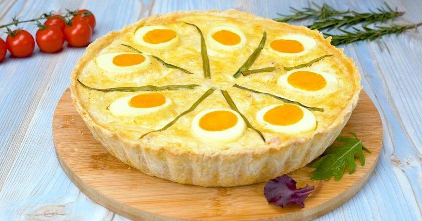 Яєчний тарт з сиром і шинкою подивитися рецепт