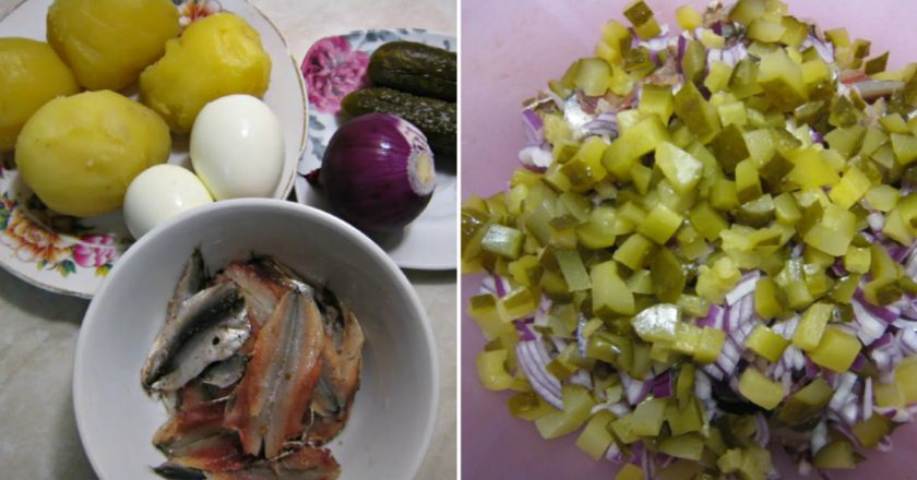 Картопляний салат з кількою і вареними яйцями подивитися рецепт