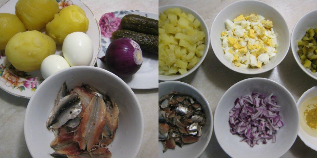 Картопляний салат з кількою і вареними яйцями