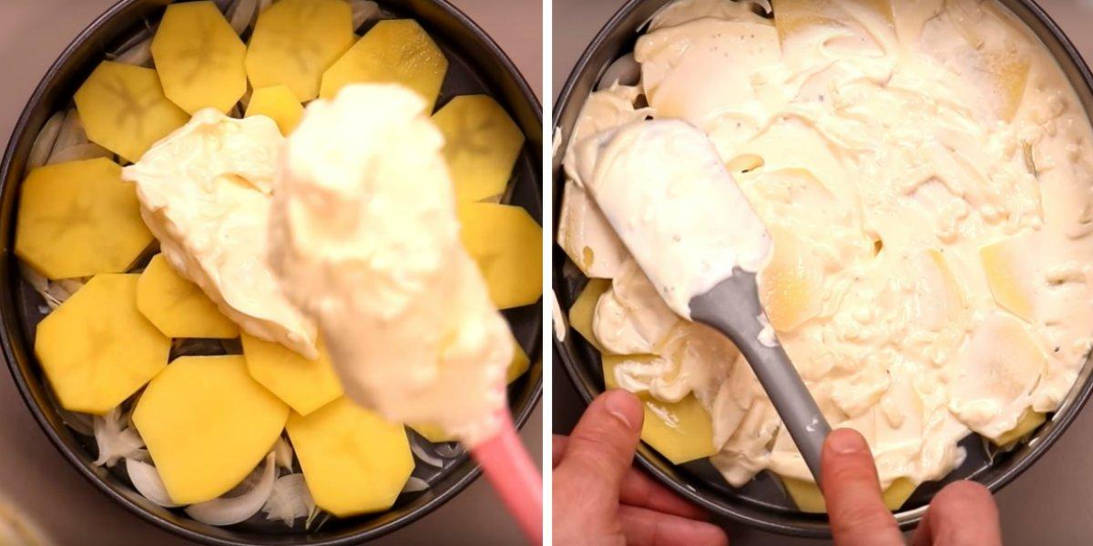Запечена з курячою грудкою картопля