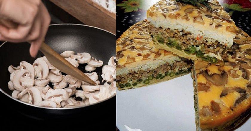Заливний пиріг з грибами на кефірі подивитися рецепт