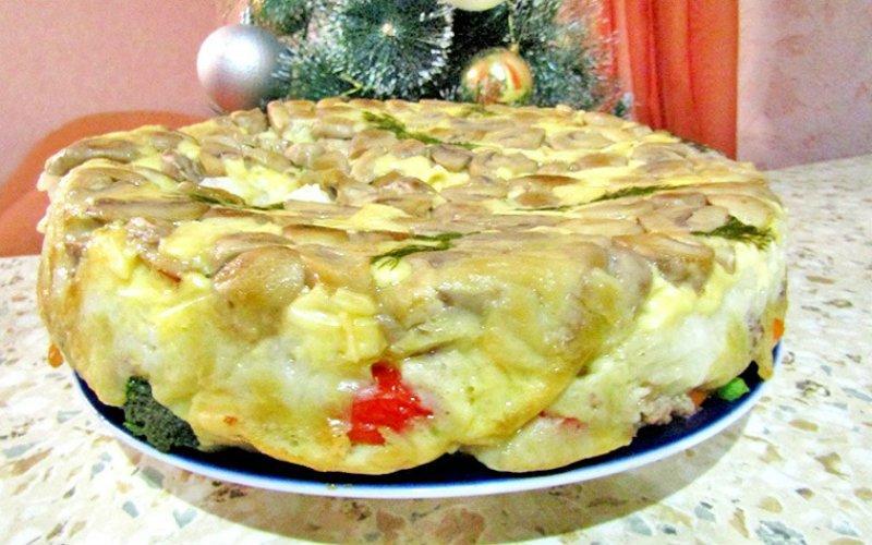 Заливний пиріг з грибами на кефірі