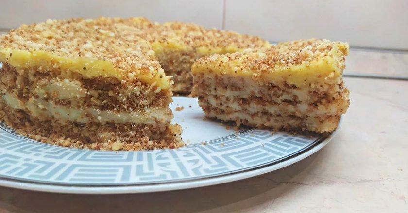 Торт з крихти зі сметанним кремом подивитися рецепт