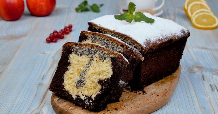 Триколірний кекс з какао, маком і кокосом подивитися рецепт