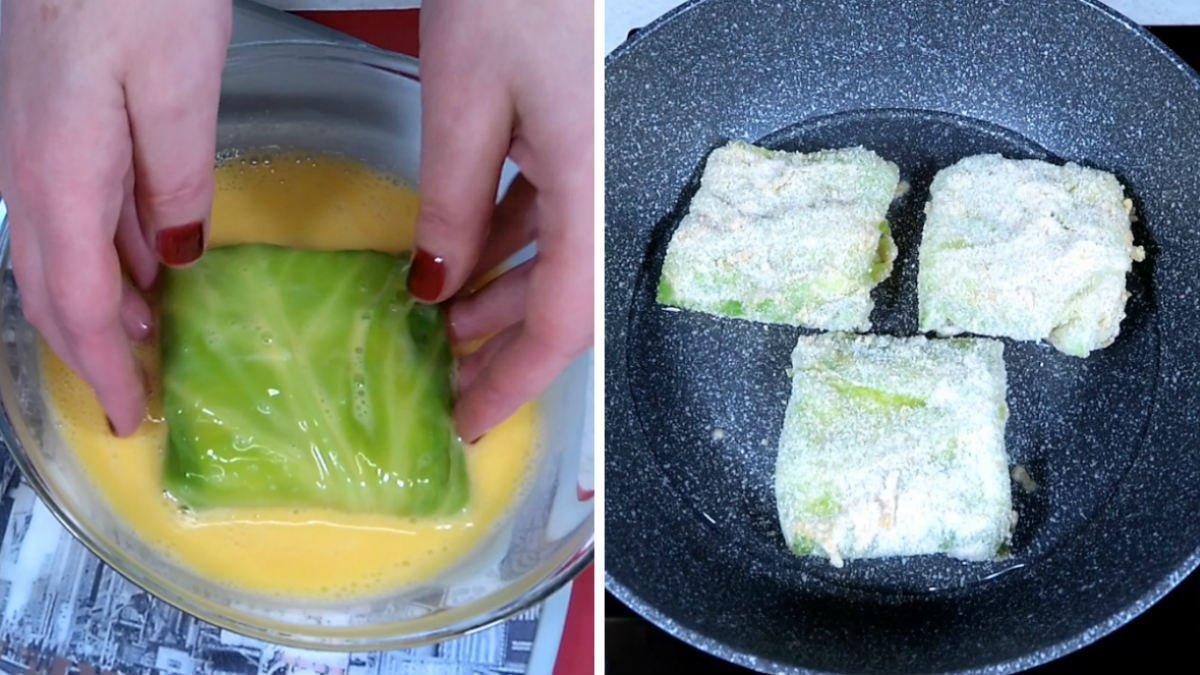 Конвертики з капусти з сиром в клярі