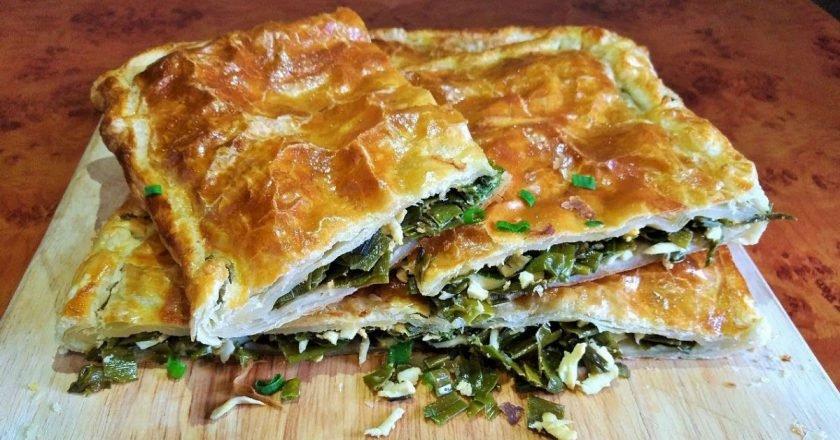 Листковий пиріг з зеленою цибулею подивитися рецепт
