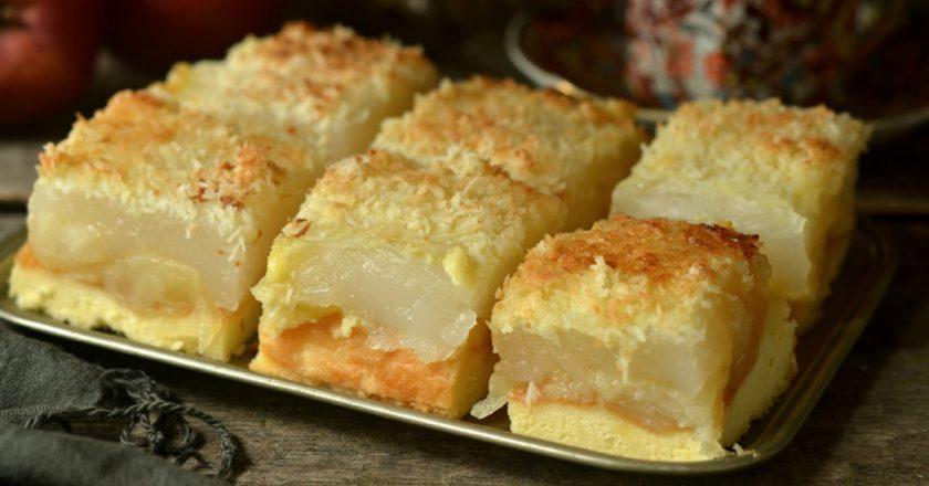 Бісквітний яблучний пиріг з кокосом подивитися рецепт