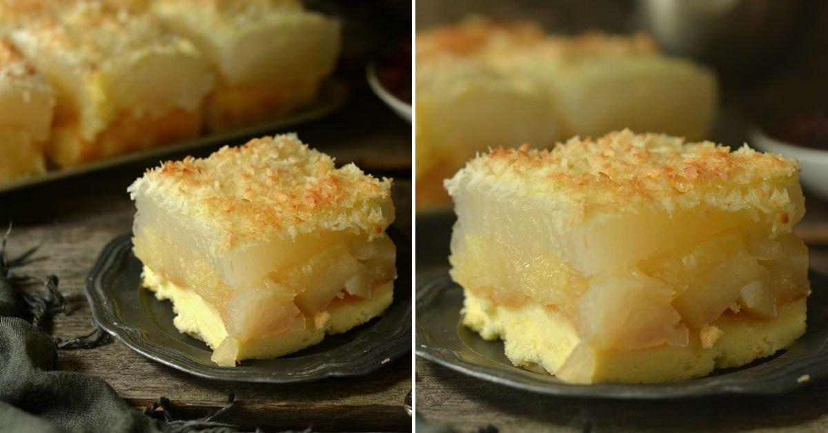 Бісквітний яблучний пиріг з кокосом