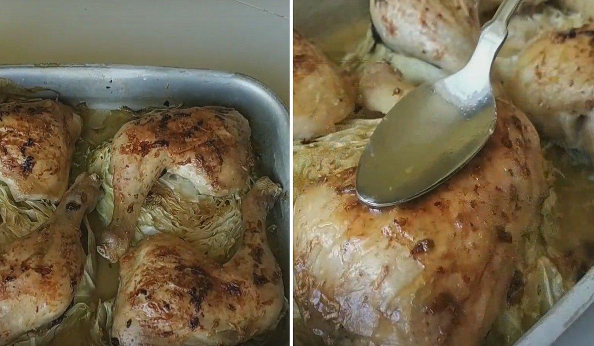 Курка з капустою в духовці
