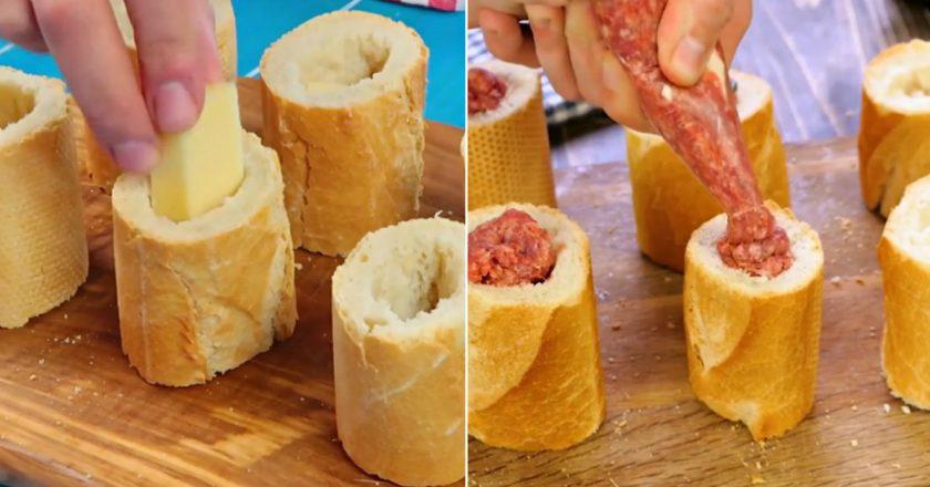 Фарширований багет з м'ясом і сиром подивитися рецепт